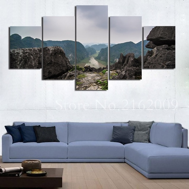 5 Pieces Canvas Painting Beautiful Top Mountains View Landscape ...