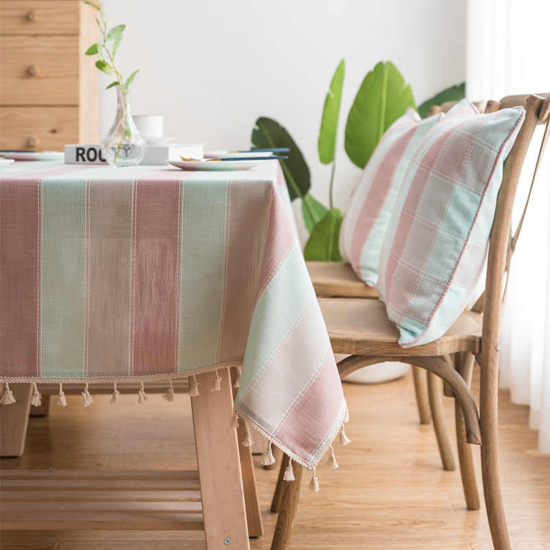 Fashion Waterproof Tablecloth Pink Blue Stitching Striped Table Cloth Washable Cotton Linen Christmas Rectangular Table Cover
