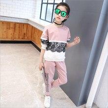 b5435ed0a Abesay deportes traje para Niñas Ropa de encaje para niñas otoño ropa  infantil de la muchacha primavera adolescentes ropa 8 11 1.