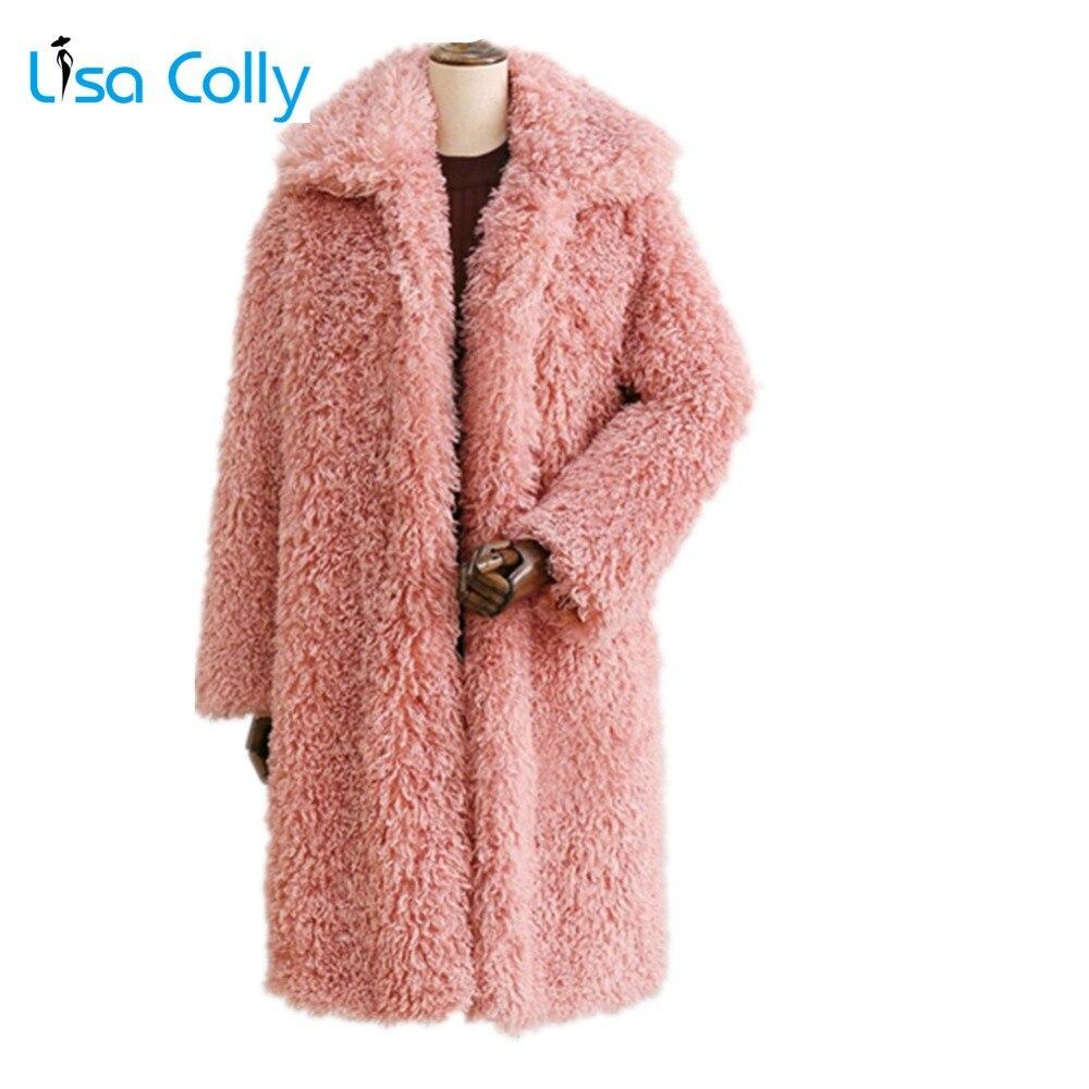 Lisa Colly New Women Winter Thick Fur Coat Women Warm Faux Fur Coat Jacket Long Fox Fur Coat Outwear Ladies Lamb Wools Coat