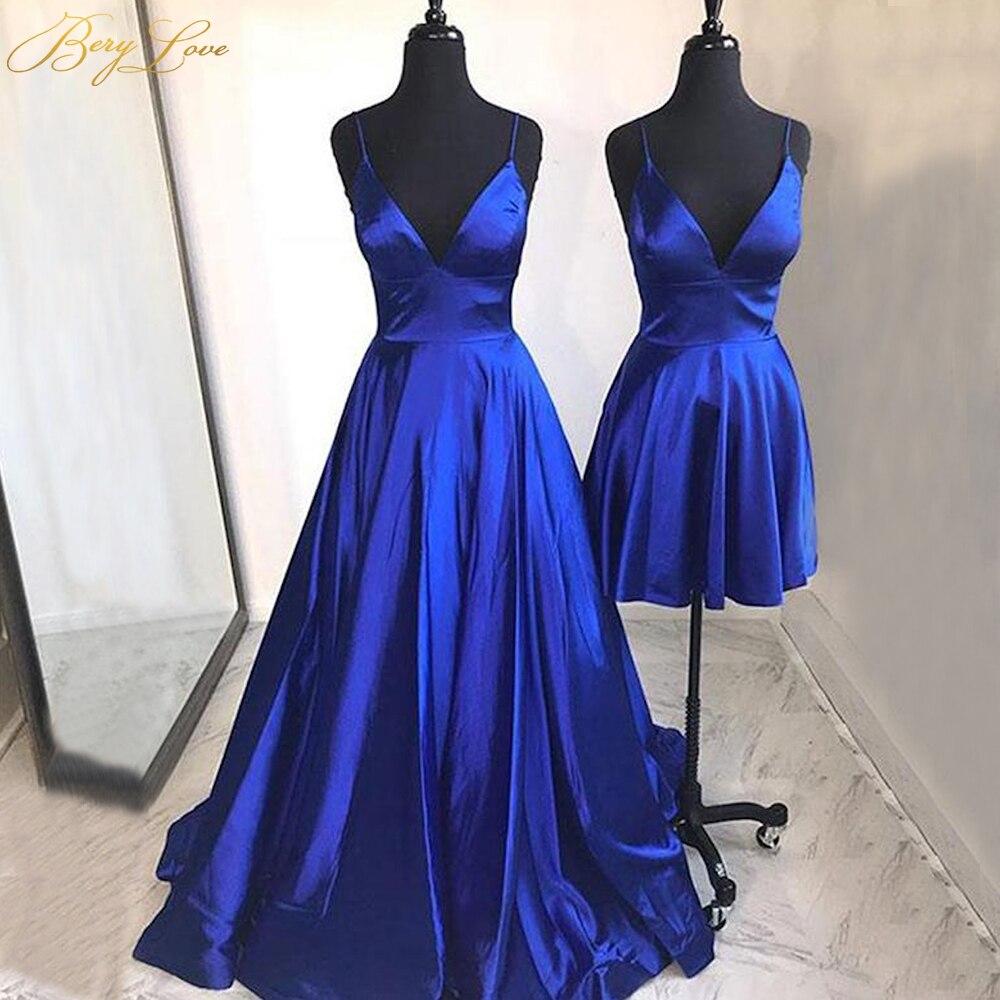 BeryLove Simple Blue Elegant Evening Dress 2019 Spaghetti Straps Gown Formal On Sale Party Dress Plain Prom Dress