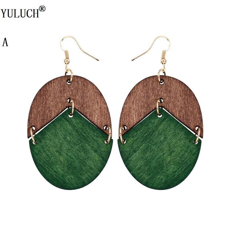 YULUCH 2018 New Design Natural Wooden Earrings Two Colors Oval Wooden Earrings DIY Gold Hook Earrings For Woman Girls Jewelry