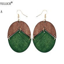 YULUCH 2018 New Design Natural Wooden Earrings Two Colors Oval Wooden Earrings DIY Gold Hook Earrings For Woman Girls Jewelry(China)