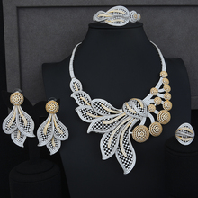 Siscathy 2019 Luxury Jewelry Set Nigerian CZ Flower Collar Necklace Dangle Earrings Bangle Ring for Women Wedding Sets