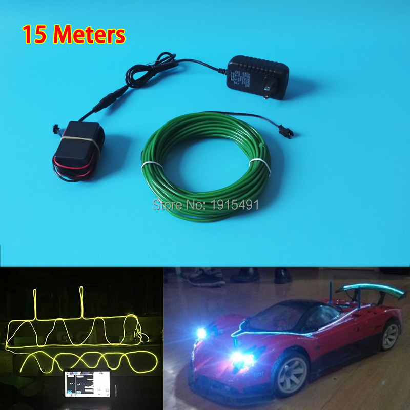 ФОТО High-grade 3.2mm 15Meter 10 Colors available EL wire Neon LED Strip Powered by 100V-220V Drive for Car Interior moulding Decor