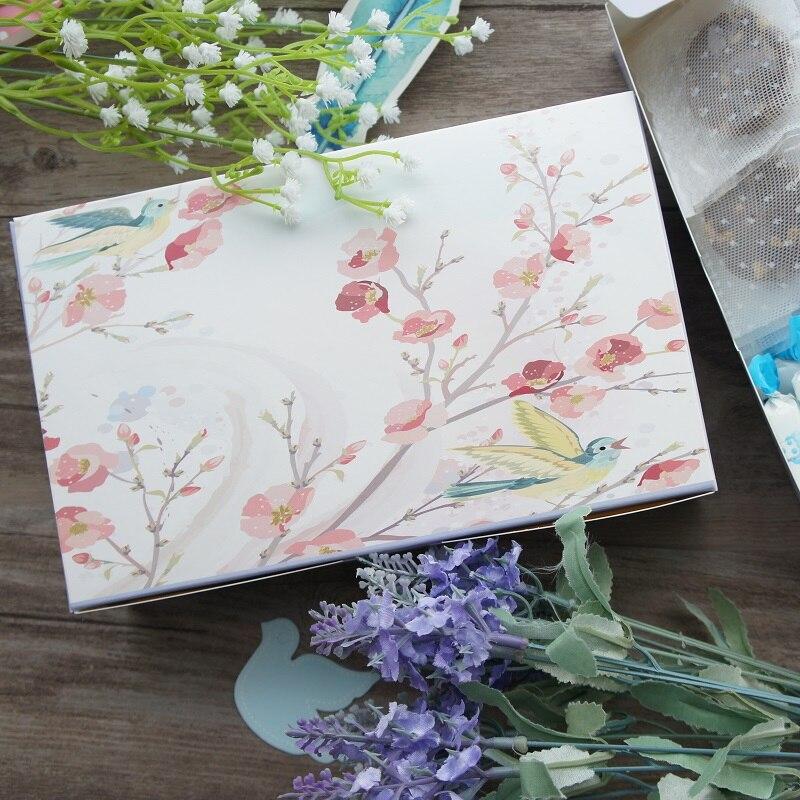 21,6*13,5*5 см 10 шт. пение птиц дизайн Бумага ящик для хранения Коробки печенья Макарон ...