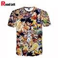 2016 Verano Nuevo Estilo Dragon Ball Super Saiyan Impresión 3D Camiseta de La Manera Mujeres de Los Hombres de La Personalidad de Alta Calidad T-shirt Homme Tees
