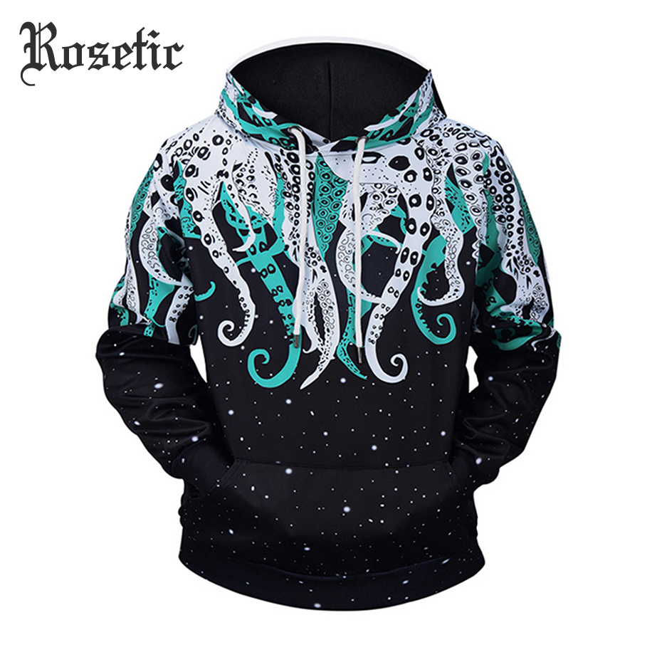 Rosetic Men 3D Sweatshirts Pullover Autumn Winter Hoodie Casual Streetwear Hooded Goth Tracksuits Loose Hip Pop Octopus Hoodie
