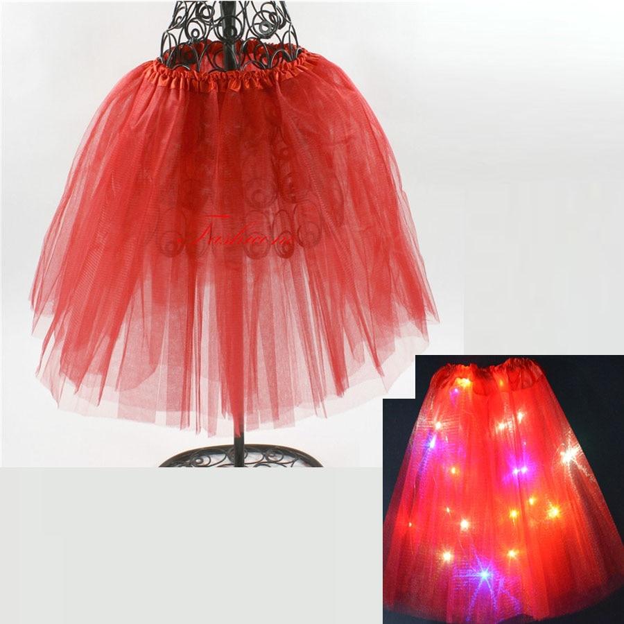Junior To Adult LED Skirt Solid Color Neon Light Up Tutu Stage Ballet Dancing Halloween  Girls Skirts Christmas Dance Wear