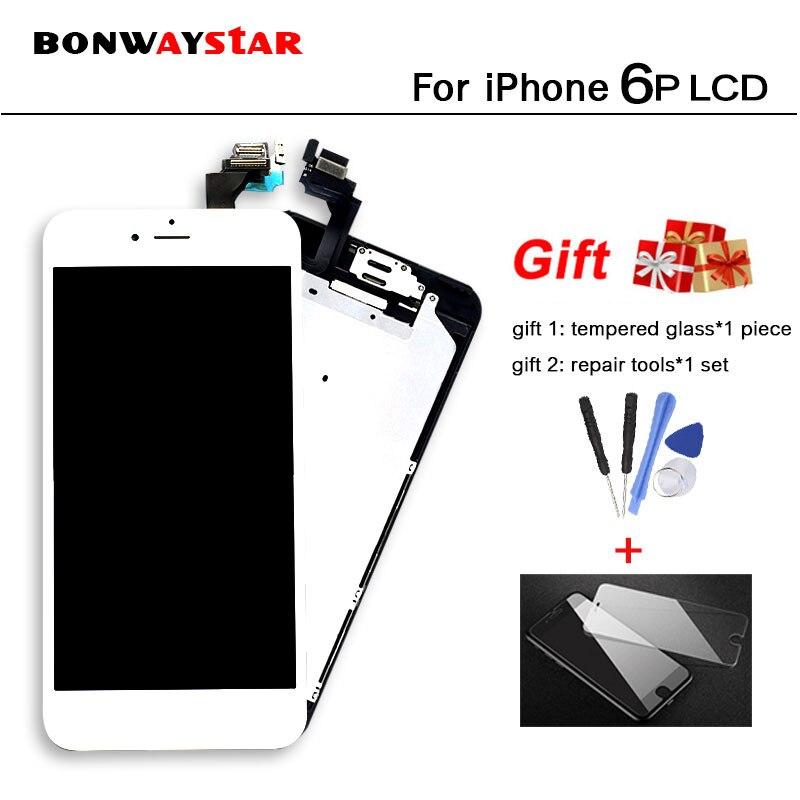 Caméra Accueil Bouton Noir blanc LCD Digitizer pleine Assemblée d'affichage 5.5 ''pour iPhone 6 plus A1522 A1593 A1524 remplacement