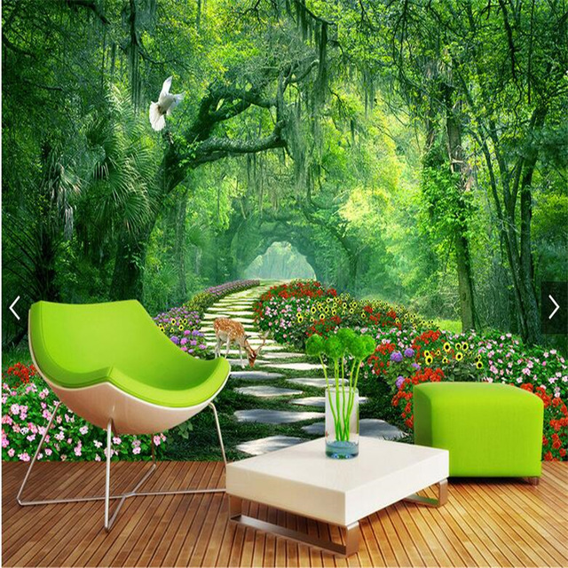 Custom 3D Photo Wallpaper Murals Modern Trees park Green Road 3d Landscape Picture Living Room Bedroom Background Wall Decor green trees dig agricultural tools road ji special steel flower shovel custom specifications specials