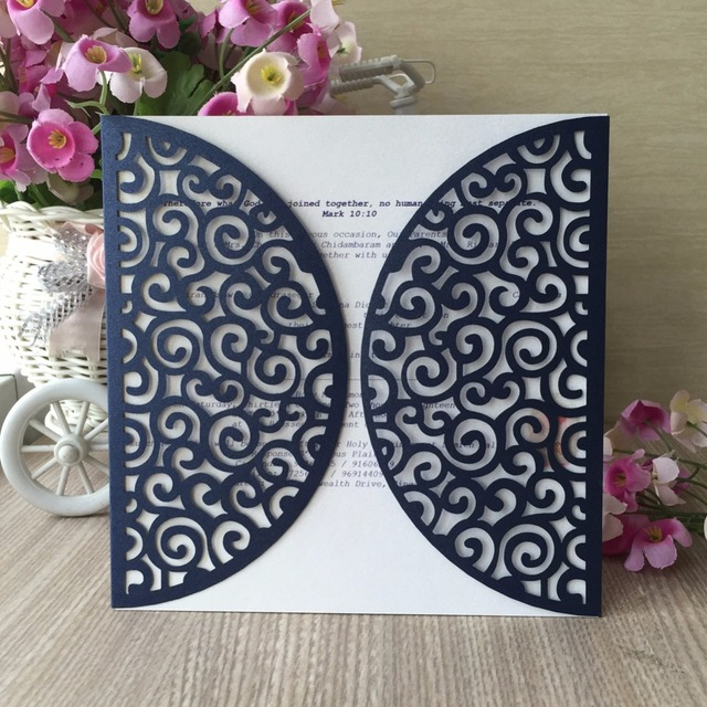 50pcs glossy paper craft laser cut business party birthday 50pcs glossy paper craft laser cut business party birthday invitations card country style foldedromantic wedding invitation filmwisefo