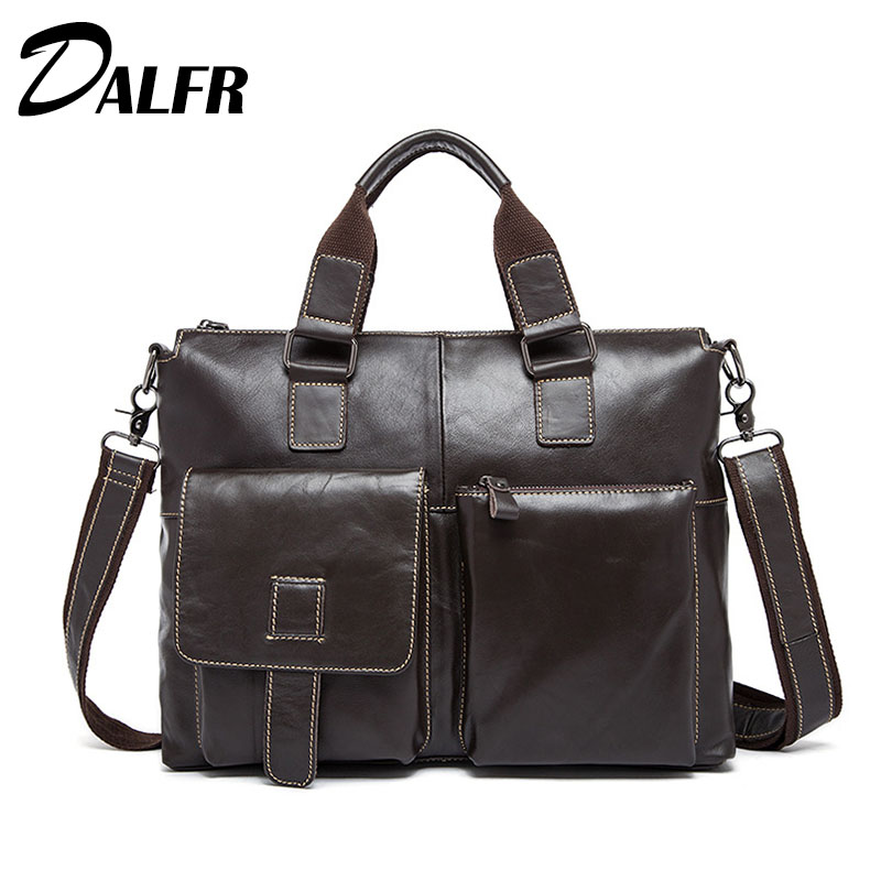 DALFR Genuine Leather Handbags 19 Inch Zipper Style Bags for Men Business Cowhide Water Proof Crossbody Bags