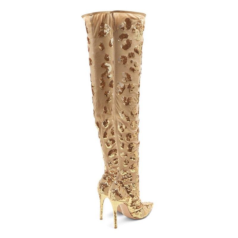 Dîner Gold Mince Genou Dirigeants Sexy Silla Femmes Paillettes Dames Or Sur Maille Pointu Le Chaussures Talons Bottes De Bout Uaw7qx17W