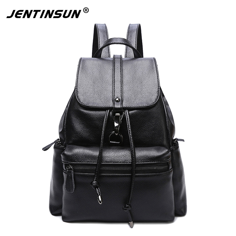 Fashion Designer Genuine Leather Women Backpack Drawstring School Bags For Teenagers Girls Female Travel BackPack Bolsa