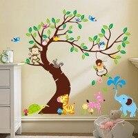 Karikatür sevimli yaratıcı renkli baykuşlar ağacı çerçeve diy duvar çıkartmaları çocuk odası anaokulu duvar çıkartması duvar kağıdı zy1214