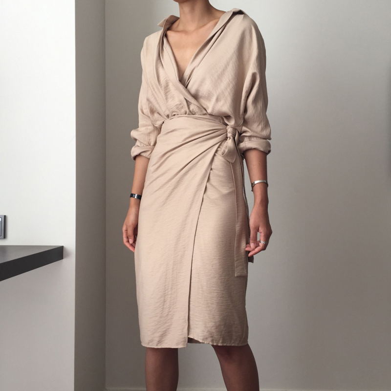 CHICEVER Bow Bandage Dresses For Women V Neck Long Sleeve High Waist Women's Dress Female Elegant Fashion Clothing New 19 29