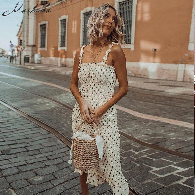Macheda French Style Wave Point Dress Women Casual Retro Ruffle Slim Wave Point High Waist Spaghetti Strap Dress 2019 New