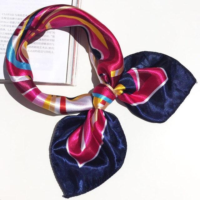 50*50 Multifunction Silk Scarf women fashion Printed Scarves Hair Tie Flower Leopard Striped Ribbon Headwear Retro Neckerchief 2