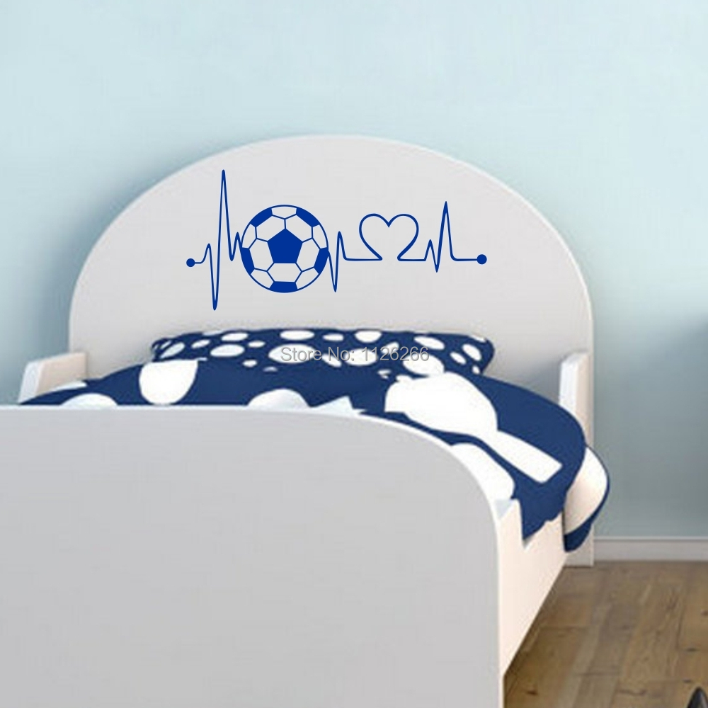 Creative Voetbal Hartslag Muurtattoo Sticker voor Jongens Slaapkamer Deur Home Decor 2