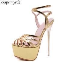 купить Summer gold pumps Serpentine Women Sandals Super High Heel Buckle Strap Open The Toe Gladiator Thin Heel Party Shoes YMA828 по цене 1645.94 рублей