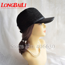 LongBaiLi Fashion Patchwork Raffia Straw and Faux Leather Baseball Hats For Women Sun Female Free Shipping SWDS076