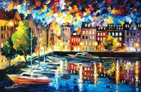 beautiful Painting Home Decor amsterdams harbor Colorful oil paintings Canvas Abstract Modern Fine Art High quality Handmade