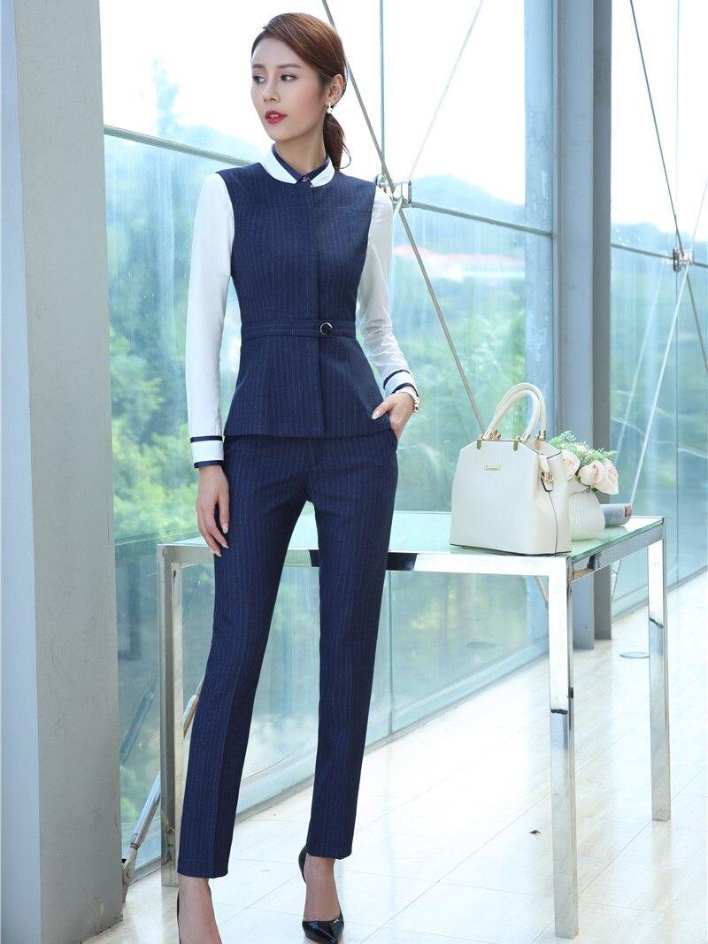 Formal Women Business Suits with Two Piece Pant and Vest Waistcoat Top Sets Blue Ladies Office Uniform Designs Pantsuits