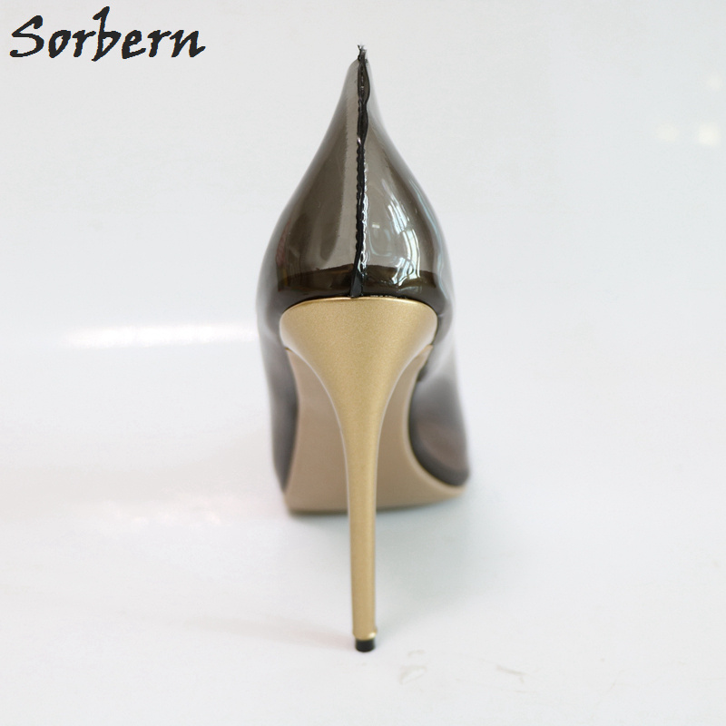 Talons Pompes Noir Pvc À Stilettos bleu Des Aiguilles Noir or Pointu Voir custom Bout Slip Color Dames Sorbern Hauts Sur Chaussures Travers Femmes wSpY7qqx