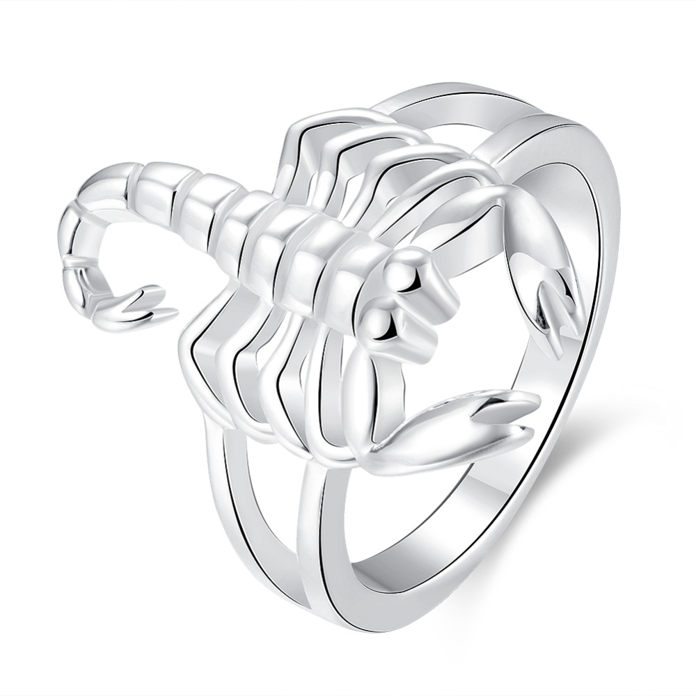 , Beautiful Silver ring Fashion fashion Scorpion silver color NICE women Domineering Lady Ring jewelry Classical gift R739
