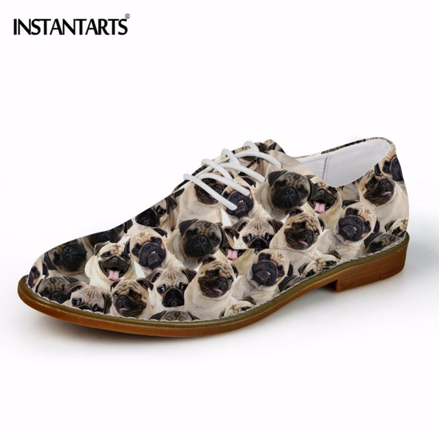 INSTANTARTS Pug Dog Puzzle Print Men Casual Leather Shoes Fashion Animal Pattern Oxfords Shoes Man Breathable Lace Up Flat Shoes