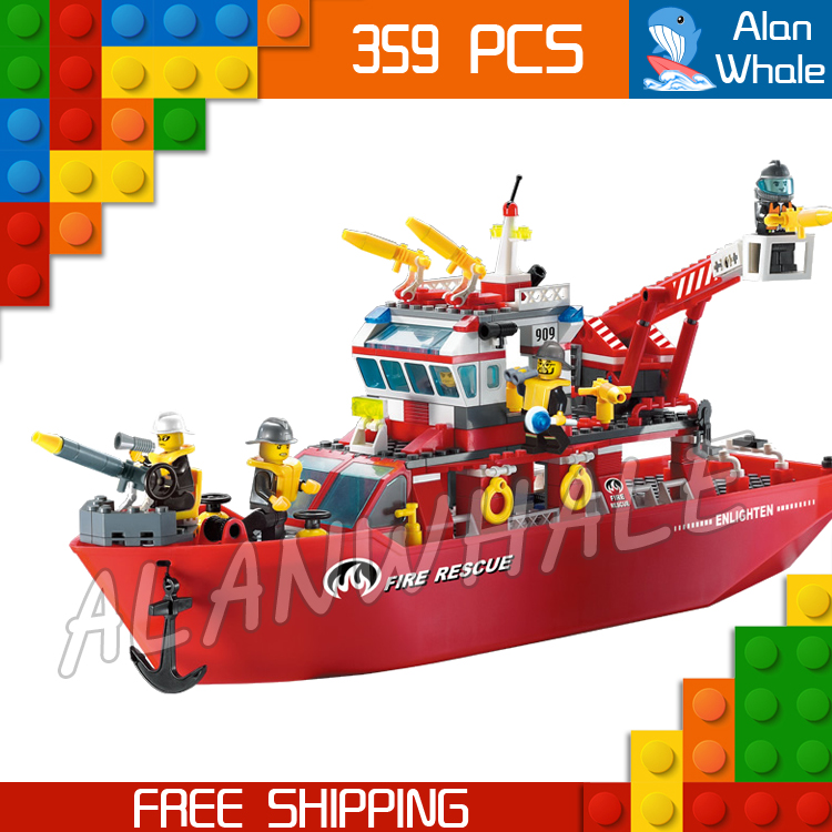цены 359pcs New City Fire Ship Boat Rescue station Firefighter Fireboat 909 Model Building Blocks Children Toys Compatible with lego