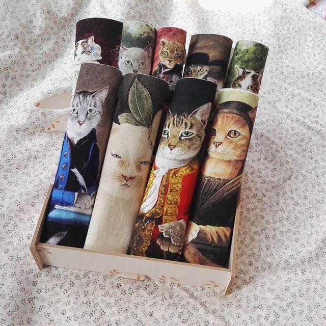 Gatos retro tecido Handwork DIY Tecido QUILTING Idade Média gatos Mão pintado pintura de impressão Digital de patchwork