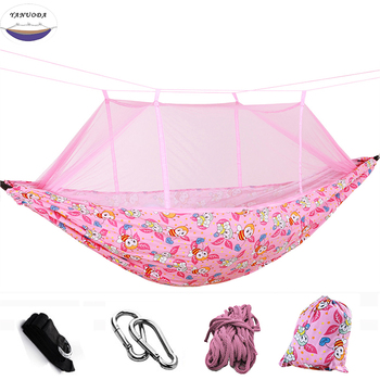 High Strength Parent-child Hammock Garden Outdoor Furniture Thick Canvas Hammock With mosquito net Protect Kid