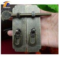 2pcs Chinese Style Furniture Hardware Iron Round Door Knocking Knocker Pull 120 58mm Bolt Vintage Lock