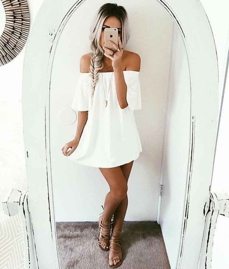 Women Summer Boho Casual Short Dress Fashion Solid Beach Dresses Sundress