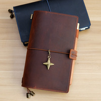 New Style 100% Genuine Leather Handmade Cowhide M Size Multifunction Traveler's Notebook travel diary DIY replaceable inserts