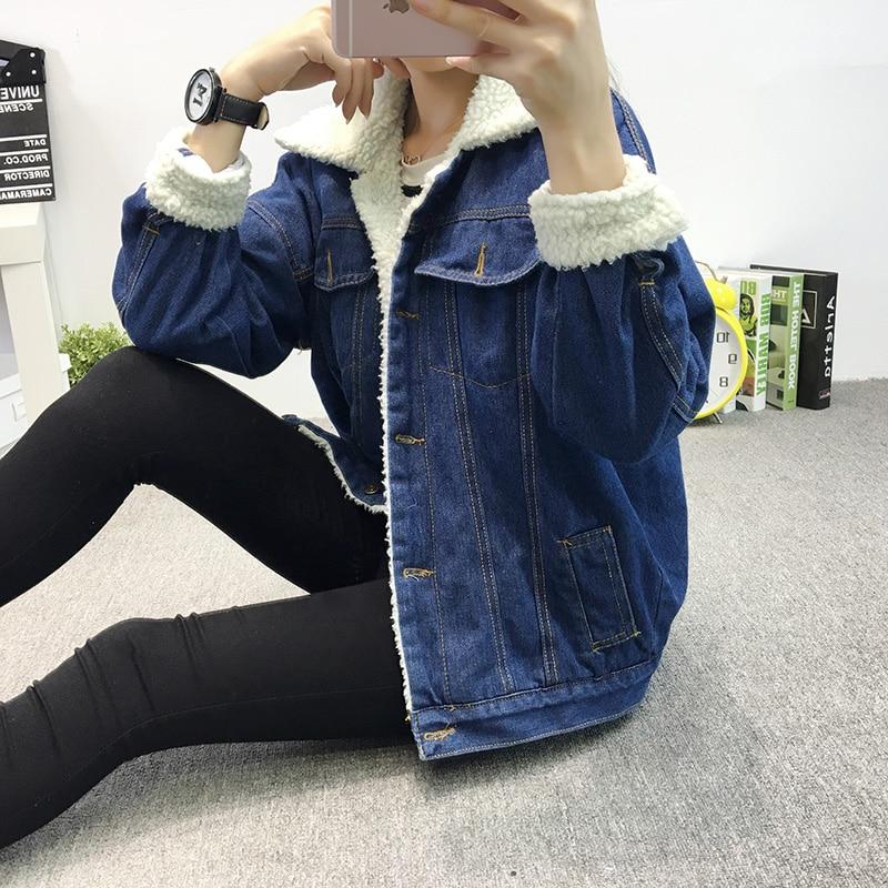a3a65fec42c 2018 Autumn Winter Women Thick Lambs Wool Bomber Jackets Loose Jean Coat  Female Casual Warm Denim Outerwear Coats Z30