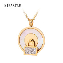 Gold-Color Stainless Steel Women Fashion Crystal Lock Charm Choker Chunky Statement Bib Chain Necklace(China)