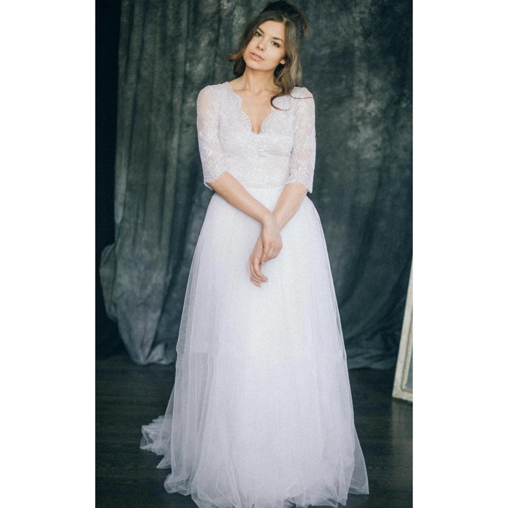 Boho Wedding Dress Sexy V Neck Half Sleeve Lace Top Tulle Skirt Floor Length Bridal Gowns