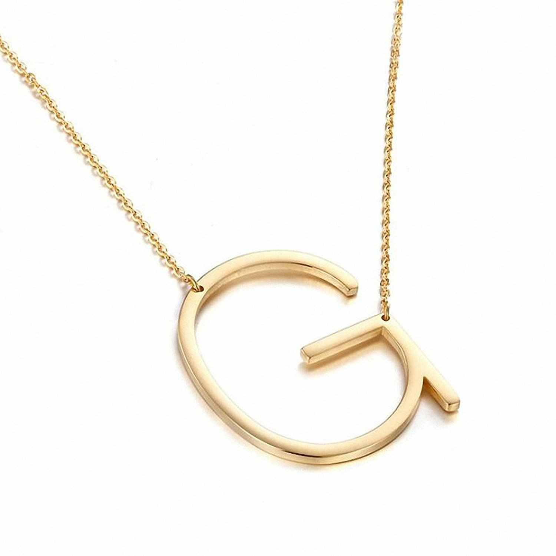 جديد الحد الأدنى وردة ذهبية الذهب والفضة اللون 26 A-Z إلكتروني اسم الأولي القلائد للنساء طويلة كبيرة قلادة بحرف قلادة