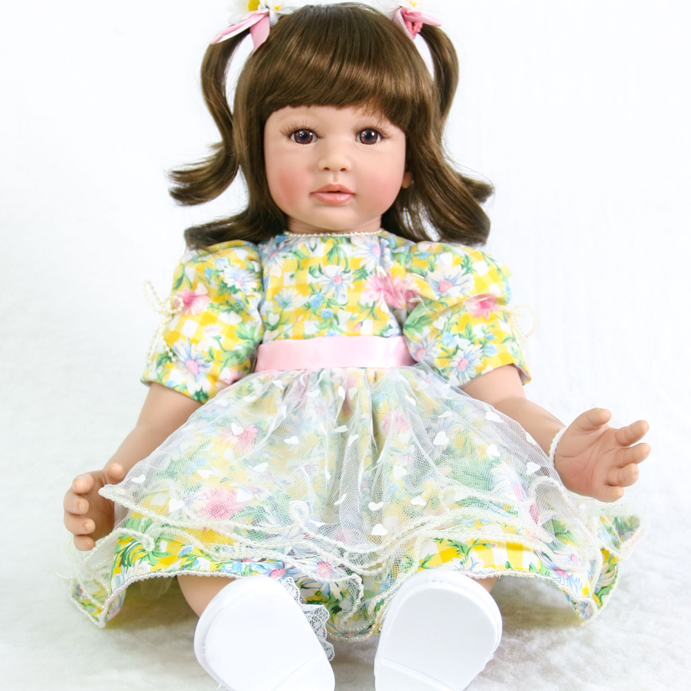 60cm Silicone Reborn Baby Girl Doll Toys 24inch Vinyl Princess Toddler bebe doll gift High Quality Birthday gift boneca60cm Silicone Reborn Baby Girl Doll Toys 24inch Vinyl Princess Toddler bebe doll gift High Quality Birthday gift boneca