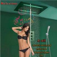 Ванная Комната Дождь Душ 800x600 мм Музыка FM радио Bluetooth для душа смеситель клапан площади Ванна Насадки для душа светодиодный