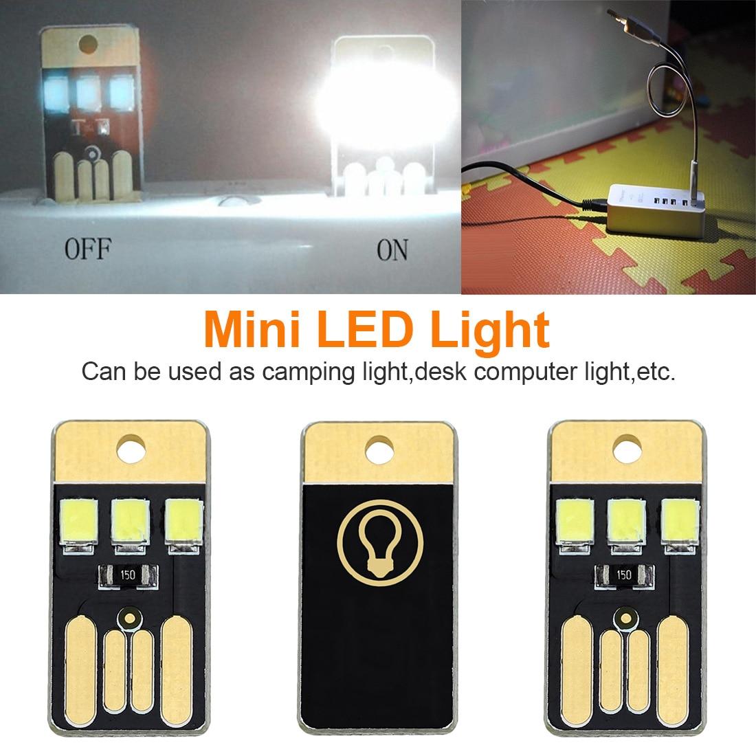 5pcs Night Lamp Mini Pocket Card USB Power LED Keychain Night Light 0.2W USB LED Bulb Book Light For Laptop PC Powerbank