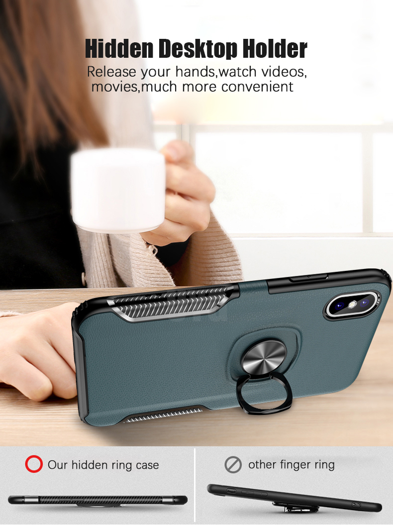 Luxury Leather texture Bracket case For iPhone x xs max xr Shockproof armor cover For iphone 6 6s 7 8 plus case with ring holder (6)