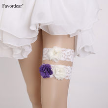 Favordear White Lace Three Flowers Wedding Garter for Wemen 2 PC Elastic Band Beading Bridal Garter Belt Suspender(China)