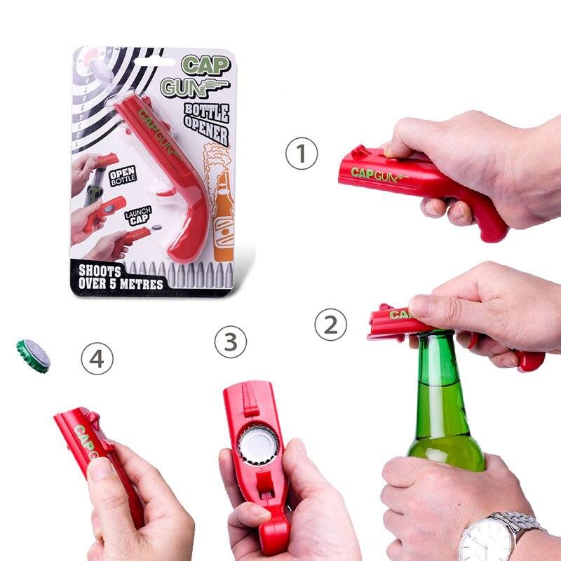 Creative Gun Shaped Beer Bottle Lids Shooter Beer Bottle Openers Beer Opener Portable Spring Cap Catapult Launcher Bar Tools 35
