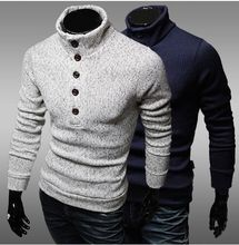 new clothing High quality single row button decorative sweater slim jumper men half high necked sweater Free shipping