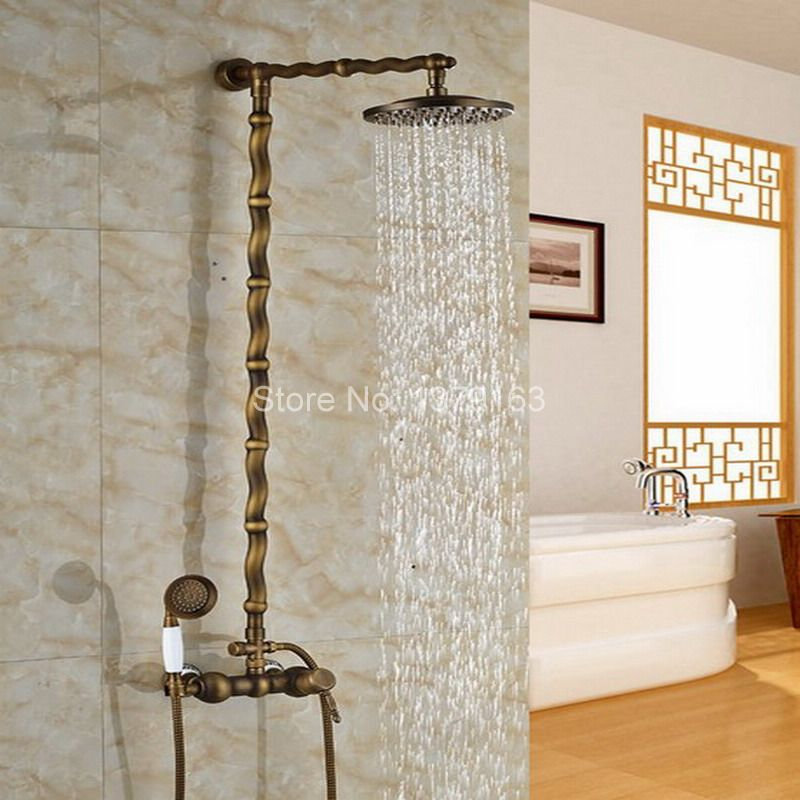 Vintage Retro Antique Brass Wall Mounted Bathroom Rain Shower Faucet Set Single Handle Mixer Tap W/ Handheld Shower Head ars058 newly vintage antique brass shower faucet set rainfall shower head w ceramics hand showe retro wall mount