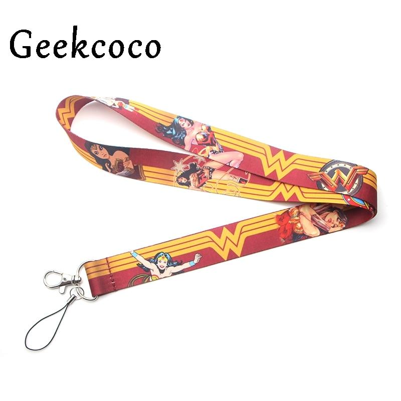 Wonder Woman Cartoon Keychains Accessories Safety Breakaway Mobile Phone USB ID Badge Holder Keys Straps Tag Neck Lanyard J0229